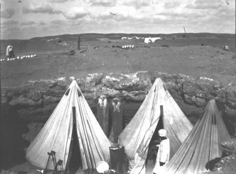 Tents in a tomb in Sedment where Petrie and his team stayed 1920-21 © Petrie Museum, University College London